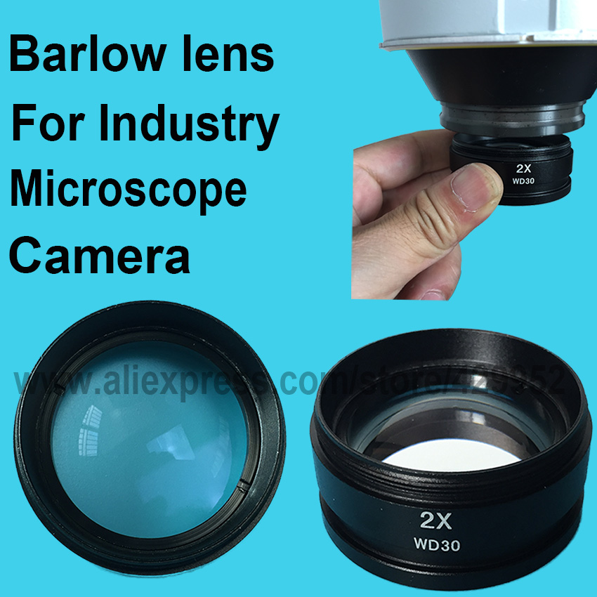 2X Barlow Auxiliary Glass Lens For Industry Digital Video Stereo Microscope Camera Objective Lens  цены