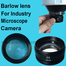 Cheap price efix 2X Barlow Auxiliary Glass Lens For Industry Digital Video Stereo Microscope Camera Objective Lens