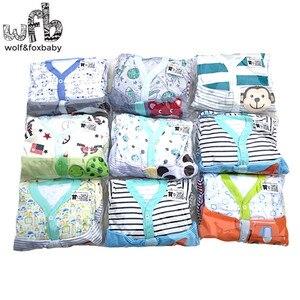 Image 3 - Retail 3 stks/partij 0 12months lange Mouwen Baby Baby cartoon footies body voor jongens meisjes jumpsuits pasgeboren kleding