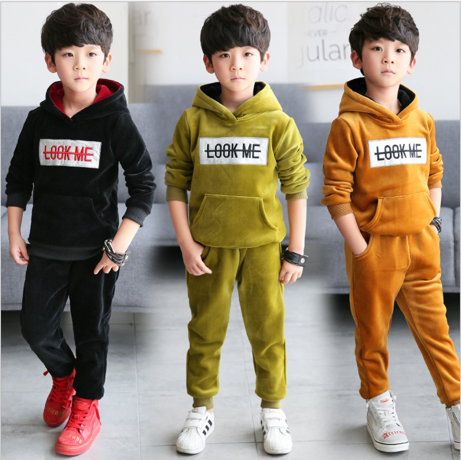 Children clothes Boys Fall Sets 2017 Double-sided Velvet Two-piece Sports Suit Teenage Clothing Hoodie Tracksuit Kids 13 Years