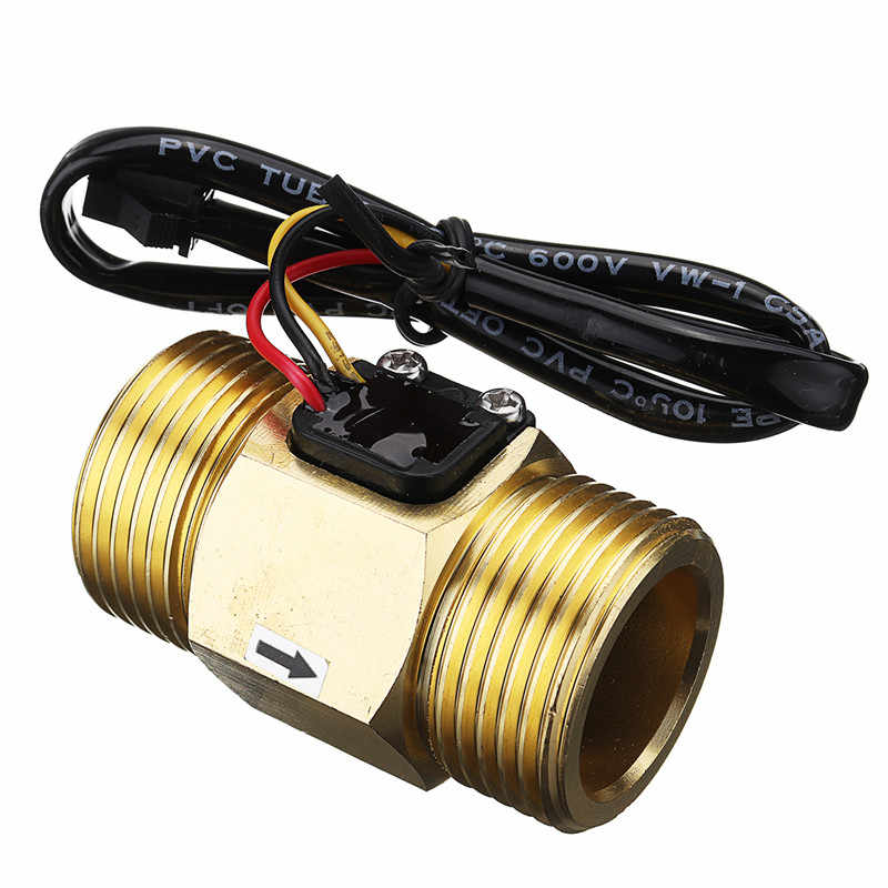 "Best Price DC5V G1"" DN25 Copper Water Flow Sensor Hall Effect Pulse Output 4~45L/min Liquid Switch Flowmeter High Quality"