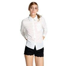 แฟชั่นใหม่ผู้หญิงเซ็กซี่เปิดลงเสื้อเชิ้ตสีขาวผ้าฝ้ายพื้นฐานท็อปส์ซูผู้หญิงเสื้อแขนยาว
