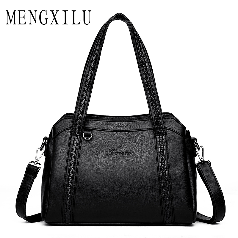 7c94c8bcea MENGXILU Designer Pu Leather Female Shoulder Bag Women Luxury Brand  Knitting Handbag Fashion Casual Tote Woman Handbags