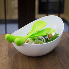 ZENCOO Extra Large Salad Bowl with Creative Fork & Spoon, Kitchen Tools of Fruit Bowl Serving Plate Mixing Bowl Tableware