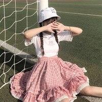 2018 Japanese Soft Sister Kawaii Skirts Women Summer Lolita High Waist Suspender Skirt Cute Plaid Ruffle Lace A Line Tutu Skirt