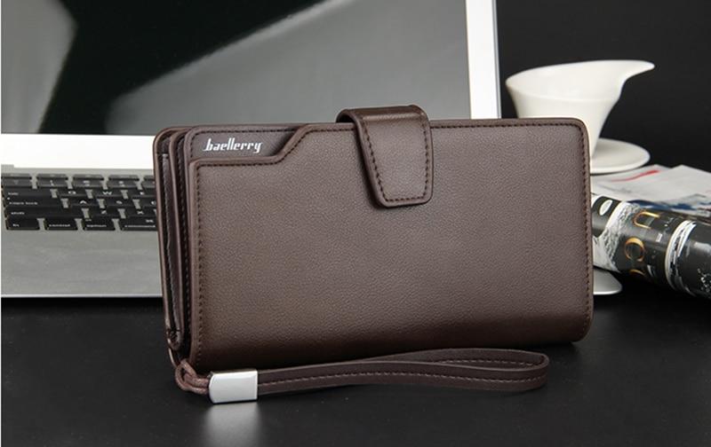 Top Quality leather long wallet men zipper wallets men women money bag pocket mltifunction brown one size 10
