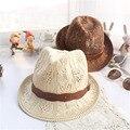 2016 Paja de Papel de moda Unisex de Fedora Del Sombrero Flexible del Gángster Cap Beach Summer Sun Del Salacot de la Paja Sombrero de Panamá