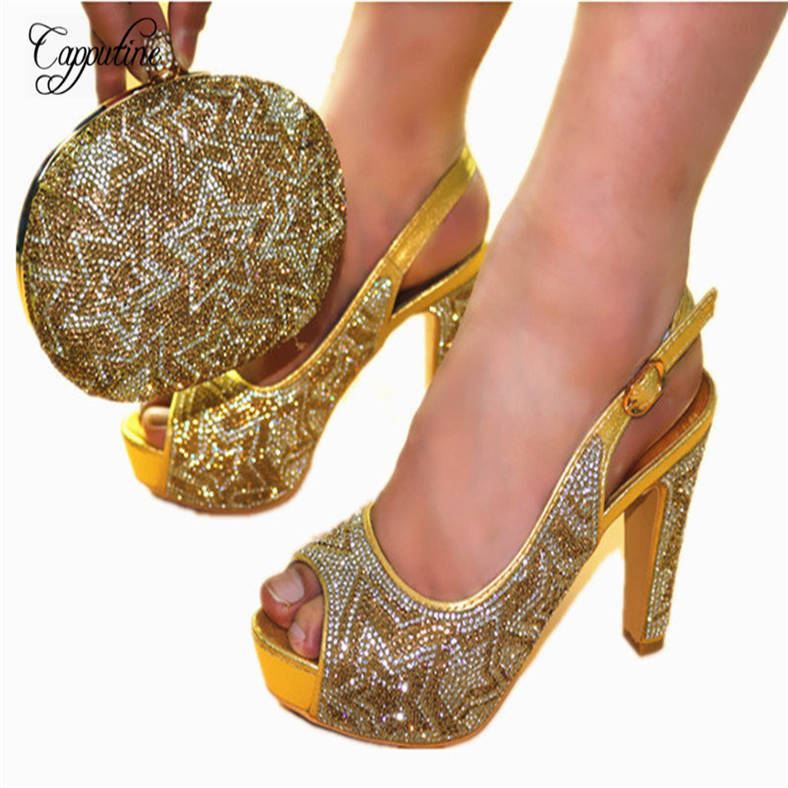 Фотография Capputine African Rhinestone Gold Color Women Pumps Shoes And Bag Set Italian Shoes With Matching Bag Set For Wedding JC602