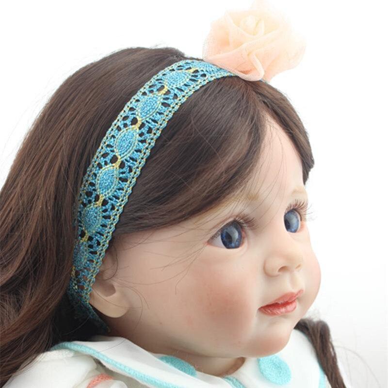 "ФОТО 24"" 60cm reborn fridolin baby dolls soft silicone reborn toddler adora girl brown long hair boneca brinquedos by npk"