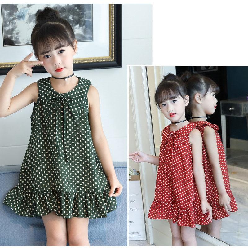 2018 summer dot printing kids ruffles dress for baby girls 12 8 6 9 years cotton sleeveless children beach dresses clothing
