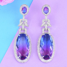 GODKI Trendy Luxury Famous Design Cubic Zirconia Women Dangle Earrings for Wedding Tassel Earrings pendientes mujer mod 2018(China)