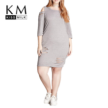 Kissmilk Plus Size Women Clothing Casual Solid Hollow Out Off-shoulder Summer Dress Bodycon 4XL 5XL