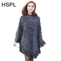 HSPL Real Rabbit fur knitted Poncho 2017 Hot sale Large Knitted Genuine Fur Hooded Shawl Women Large Cape Shawl For Ladies