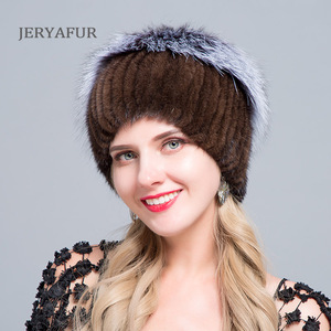 Image 5 - JERYAFUR New Fashion Winter Hats For Women Real Mink Fur Hat Female Patchwork Fox Fur Mix Color Internal Knitting Beanies Warm