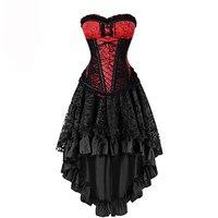 Sladuo Vintage Red&Black Steel Boned Overbust Corset Dress Women's Halloween Party Masquerade Gothic Corset Skirt Set