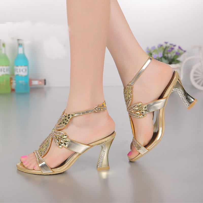 Fashion Champagne Purple Gold Sandals Foral Crystal Prom Party Shoes Summer Bridal Wedding Shoes Ankle Strap Chunky Heels