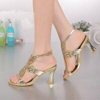 Moda Champagne de Oro Púrpura Sandalias Foral Crystal Prom Zapatos de Fiesta Zapatos de Novia de La Boda Zapato con Cierre de Verano Tacones Gruesos