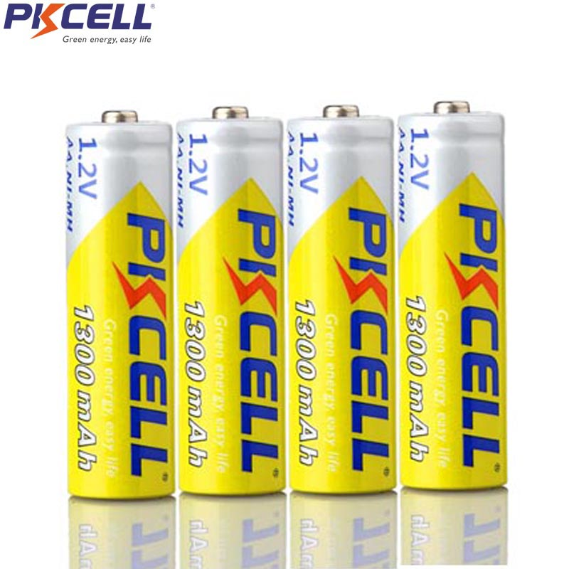 4Pcs PKCELL AA 1.2V NIMH Rechargeable Battery aa 1300mah 1.2Volt nimh Batteries For DVD MP3 Digital Camera image