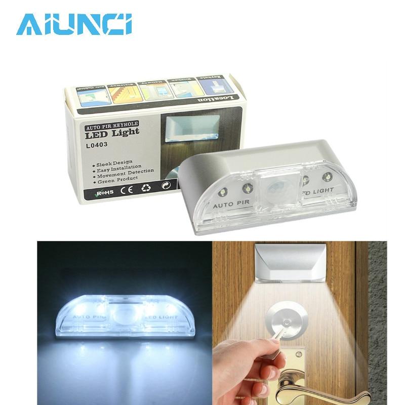 PIR Wireless Auto Infrared IR Sensor Motion Detector Keyhole 4 LED Light Lamp Night Lights Motion Light Ambient Light Sensor