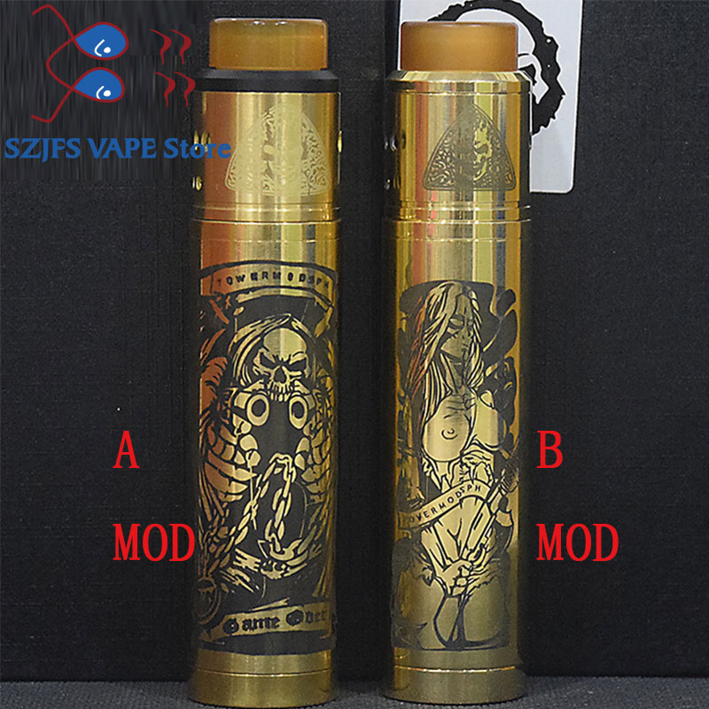 NEWEST Tower Mech Mod KIT 18650 Battery Brass Mechanical Mod 24mm Vapor Vaporizer Mod With Atomizers Axis MtlRDA E-Cigarette KIT