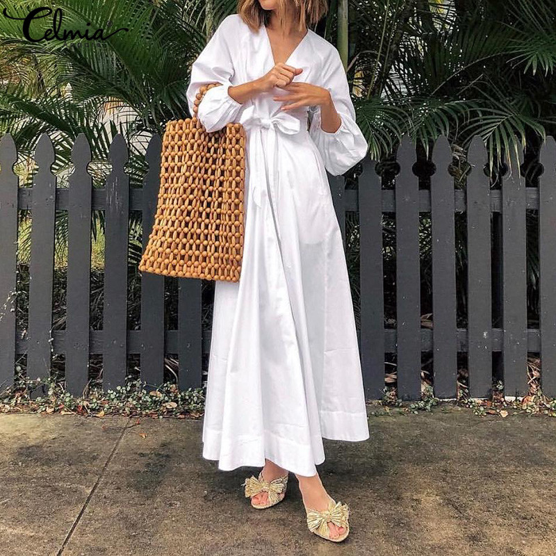 Celmia Elegant Party Long Dress Women <font><b>Sexy</b></font> V Neck Casual Pleated Shirt Dress 2019 Fashion Belted Loose Maxi Vestidos <font><b>Mujer</b></font> S-<font><b>5XL</b></font> image
