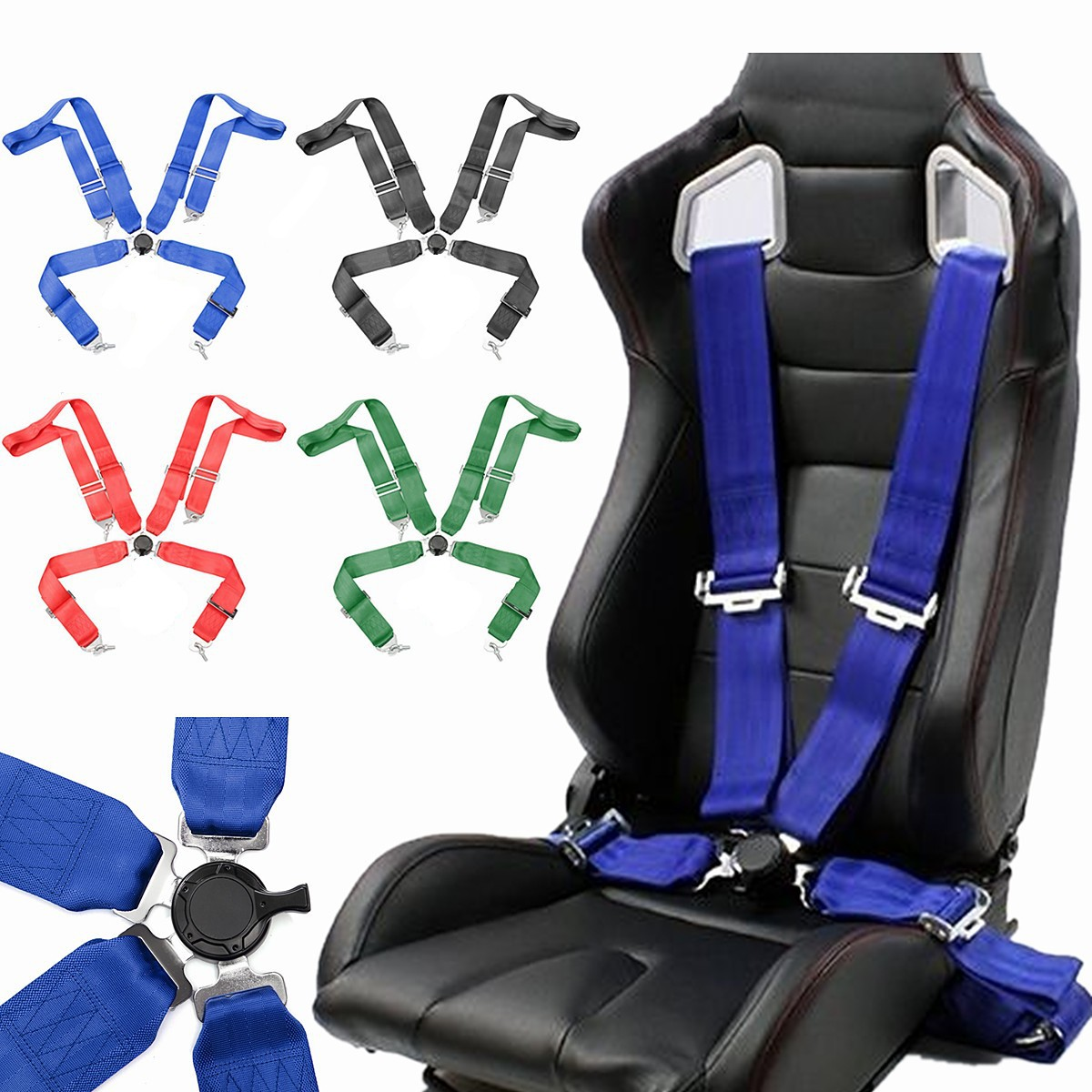 Universal Auto Car 4 Point Racing Safety Nylon Harness Camlock Strap Seat Belt Vehicle Racing Safety Seatbelt