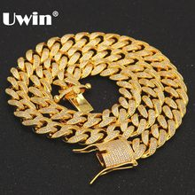 Uwin Luxury Brand 13mm Cuban Link Chain Micro Pave CZ Cubic Zirconia Mens Necklace Fashion Hiphop Iced Out Chains Jewelry(China)