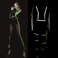 Jazz Dance Costumes Fluorescent Jumpsuit Dj Suit Female Nightclub Singer Sexy Stage Performance Costumes Hiphop Clothes DNV10676