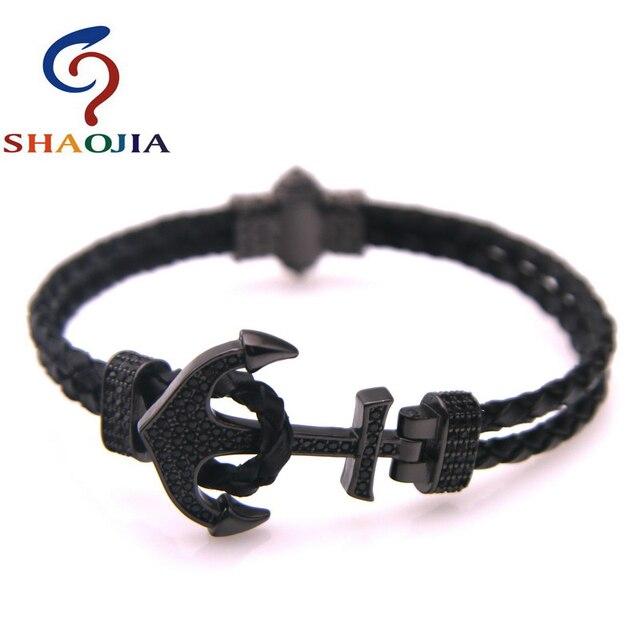 Shaojia 100% браслет из натуральной кожи Модный микро циркониевый