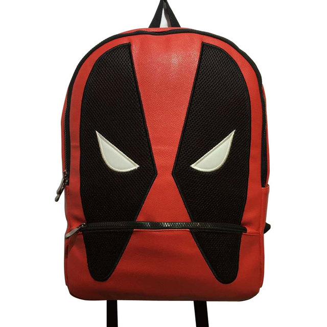 f6972365e3f9 2017 Hot Anime PU Leather School Bags Deadpool Backpack Pouch Mochila  Fashion Travel Backpack for Kids Boy Girl School Bag