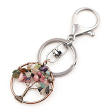 FYJS Unique Jewelry Copper Plated Circle Lobster Clasp Wisdom Tree of Life Tourmaline Stone Key Chain