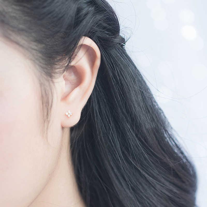 귀여운 보석 섬세한 여자 여자 귀 스터드 작은 CZ 꽃 섬세한 925 스털링 실버 작은 cz 스터드 미니멀리스트 꽃 귀걸이