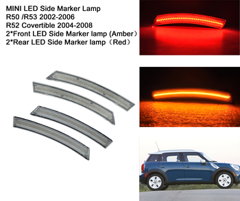 Front & Rear Amber& REd LED Side Marker Lamp For 1st Gen Mini Cooper R50 R53 2002-2006,for R52 Covertible 2004-2008