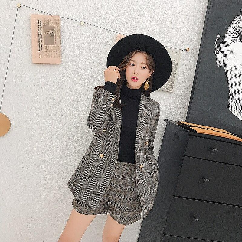 Rétro 1 Casual Mode Costume D'hiver pièce Automne De Shorts Nouvelles Coréenne Et Plaid Femmes Petite Deux Veste 8nfgawRq