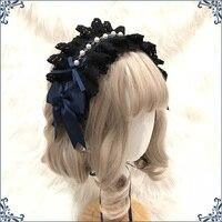 Vintage Lolita Hair Accessories Peal Trim Headwear Women's Cosplay Gothic Lace Bow Headband Hair Band Princess Navy Headdress