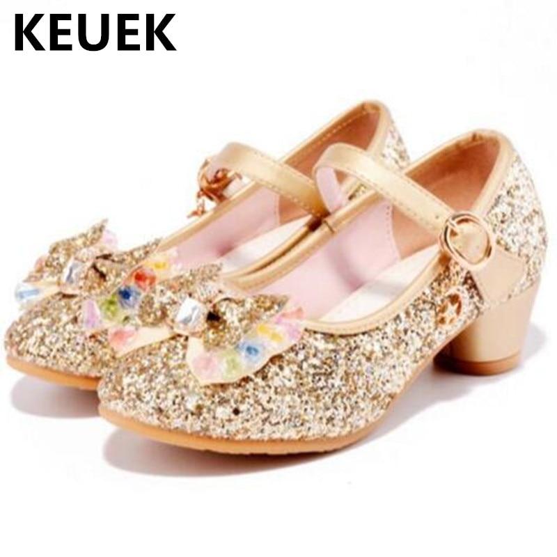 New Princess Girls High-heeled Shoes Children Glitter Bowtie Wedding Shoes Dress Fashion Dance Shoes Kids Comfortable 03