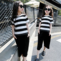 Gilrs verão Faixa T-shirt + Calças Conjuntos de Roupas para a Menina do Algodão Verão roupas Ternos Criança Fatos de Treino 2 4 5 7 9 11 12 Anos