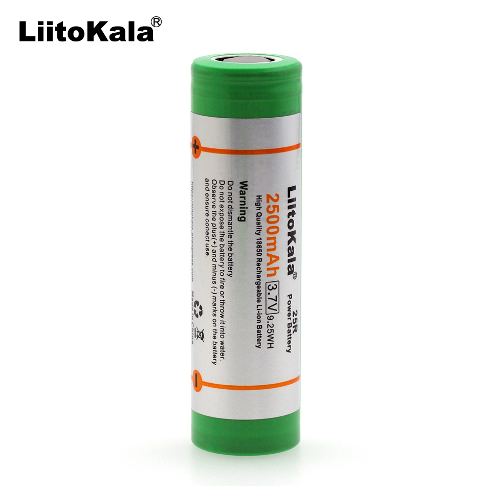 Liitokala 100% New 18650 2500 mAh Rechargeable battery 3.6V 25R 20A discharge For Electronic cigarette use