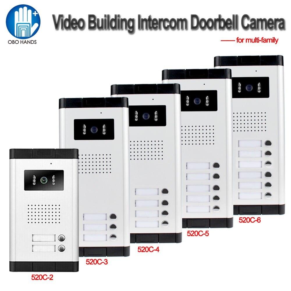 700TVL Étanche Système D'interphone Vidéo Porte Téléphone Caméra Extérieure Lumière IR Vision Avec Plusieurs Boutons D'appel pour Appartement/Maison