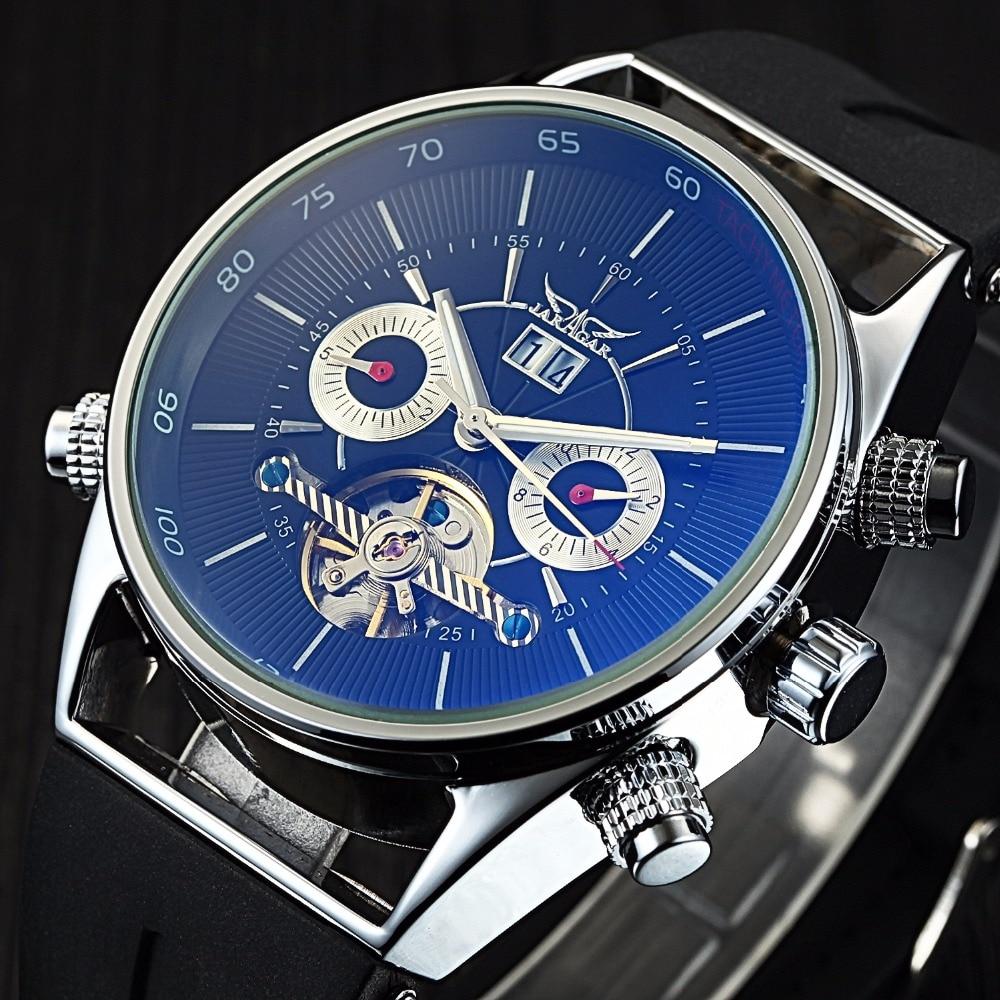 Jaragar رجل الساعات التلقائي الأزياء الرياضة ووتش القرش خطوط تصميم شريط مطاطي Tourbillion ل عرض التقويم-في الساعات الميكانيكية من ساعات اليد على  مجموعة 1