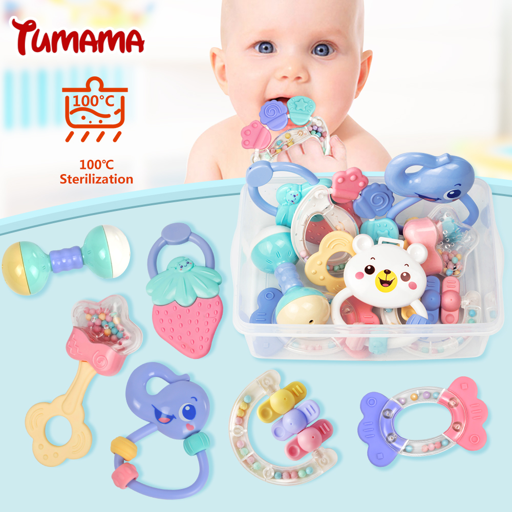 Baby Rattles font b Toys b font 8pcs Teether Music Hand Shake Bed Bell Newborns Plastic
