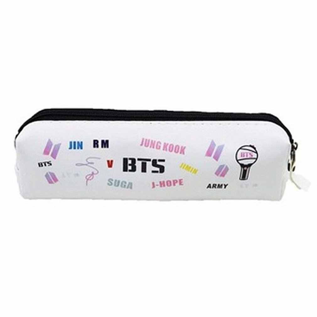 Creative KPOP BTS Print Pencil Bag Zipper Pen Bag Fashion Stationery Storage Bag for Students School Supplies