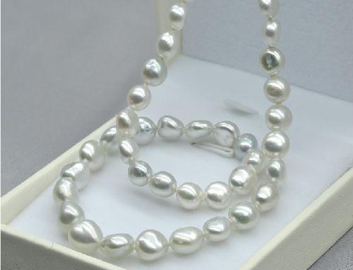 Venda Hot new Style> barroco 11-13mm Australiano do sul do mar branco pérola colar 18 inch