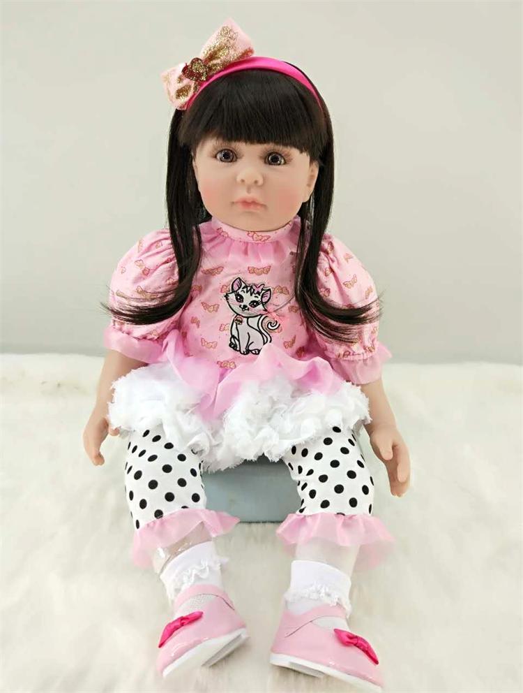 Moda princesa menina boneca renascer bebê 60cm macio silicone longo cabelo rosa vestido bonito adorável boneca reborn bebes para venda presente brinquedo - 2