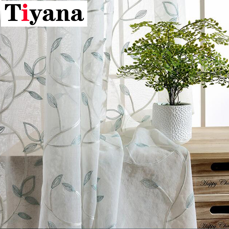 US $8.04 33% OFF|Rustic Embroidered Leaves Design Sheer Curtains For Living  Room Bay Window Kitchen Curtain Silver Thread P055D3-in Curtains from Home  ...