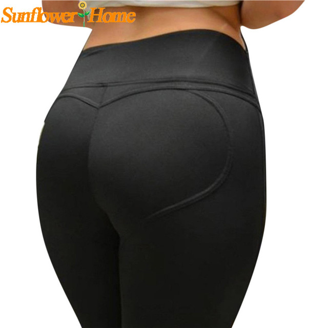 Newly Design Sexy Hip Lift Heart Pant Women Elastic Fitness Leggings 161201 Drop Shipping