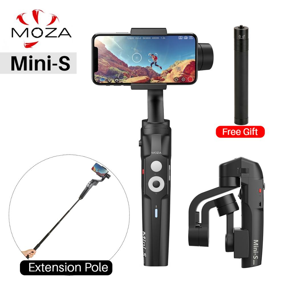 Moza Mini S Foldable 3 Axis Smart phone Gimbal Free Extend StickHandheld Gimbal Stabilizer for iPhone