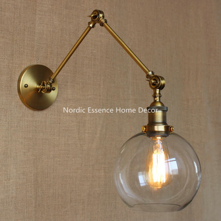 Nordic LOFT Designers study bedside lamp American country retro style queen double mechanical arms industry bar wall sconce lamp