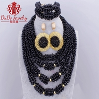 Big Design Black Crystal African Beads Nigerian Wedding Jewelry Set Gold Color Earrings Dubai Indian Style Necklace Set 2018 New
