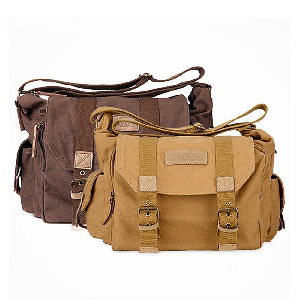 Portable Vintage Canvas DSLR Camera Shoulder Bag Messenger Bag for Canon Nikon Sony Olympus Pentax